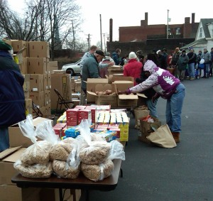 Food distribution at an Inner City Ministry Site